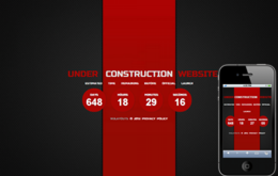 Ferrari Red Under Construction Web and Mobile Template for Free