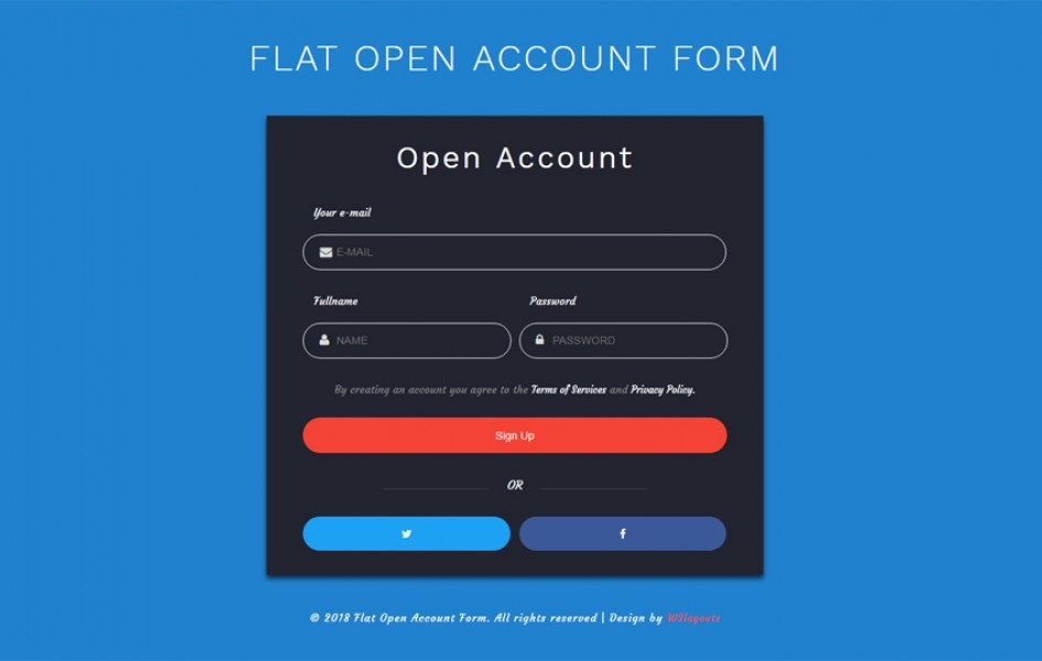 Flat Open Account Form Responsive Widget Template