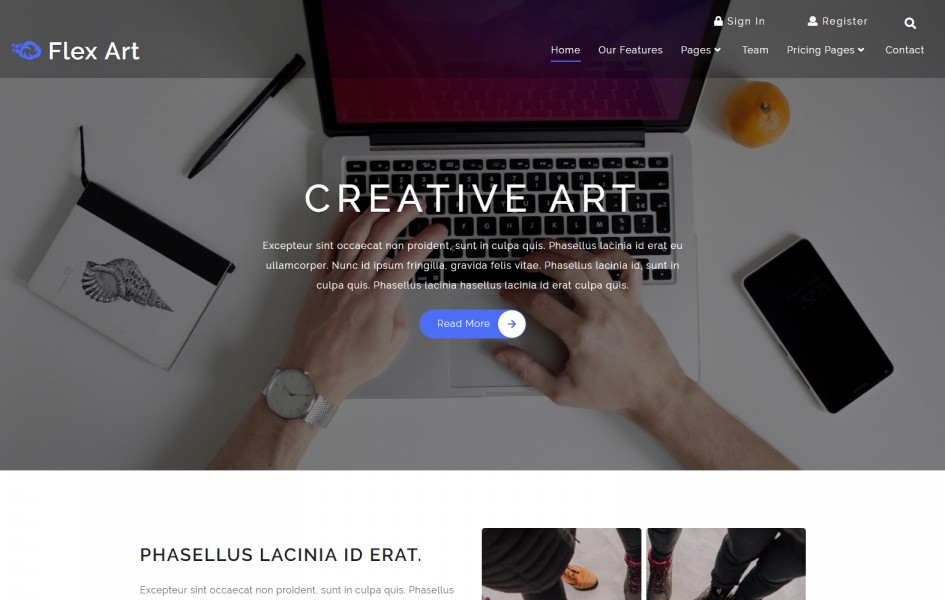 Flex Art a Corporate Category Bootstrap Responsive Web Template