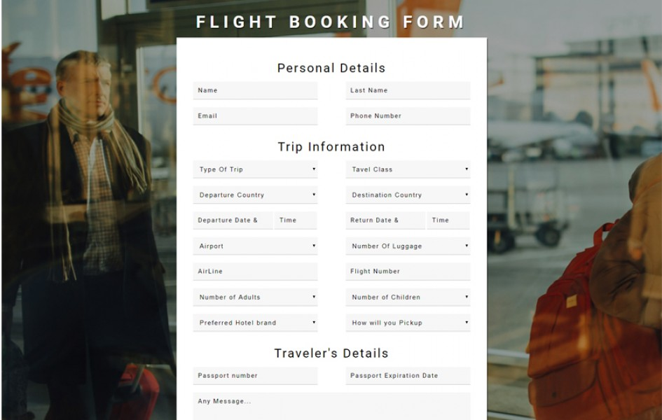 Flight Booking Form Flat Responsive Widget Template