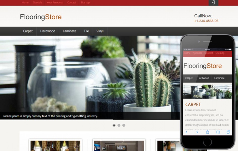 Flooring Store Web and Mobile Template for Free