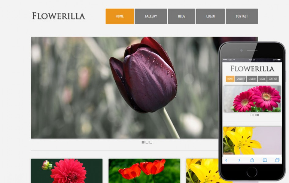 Flowerilla gallery web and mobile template for free