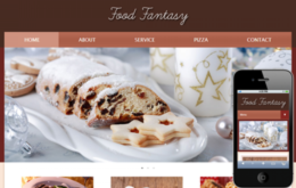 Food Fantasy Web and Mobile Template for Free
