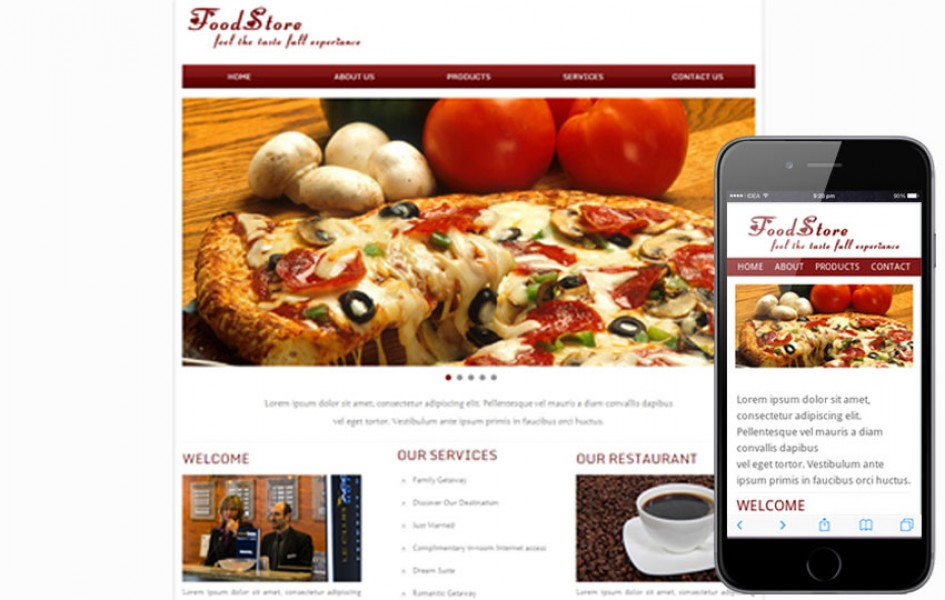 Food Store Web and Mobile Template for Free