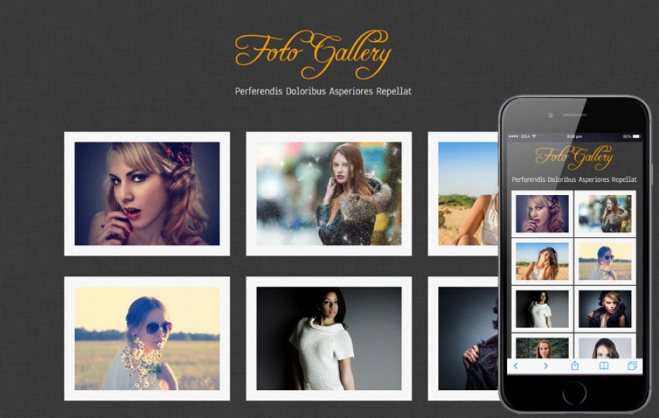 Foto Gallery website template and mobile web template for free
