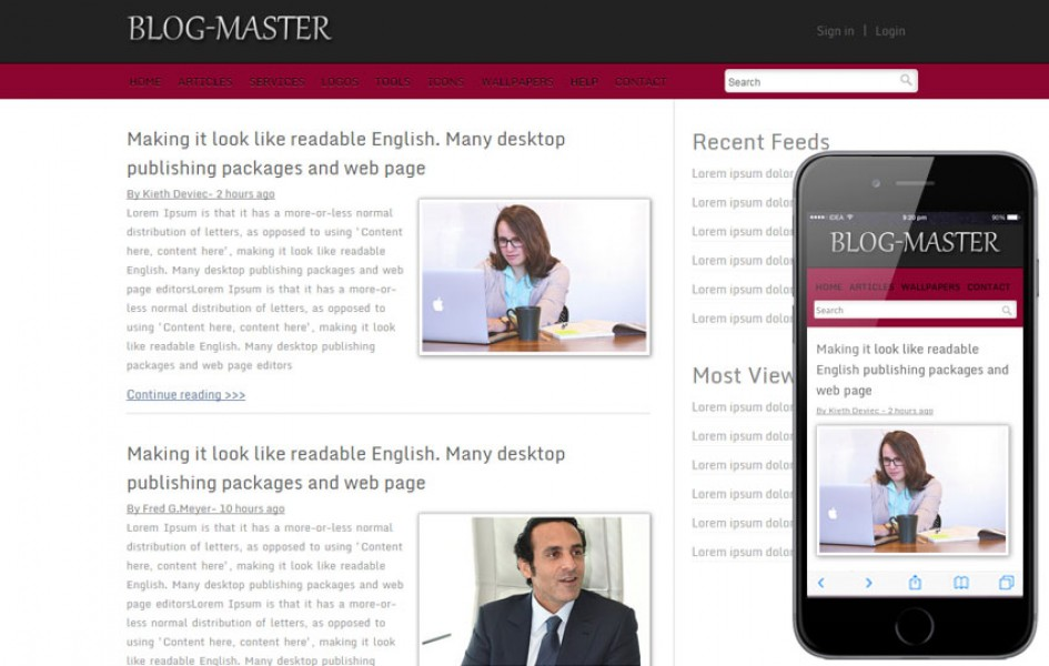 Free Blog Master blogging website and mobile template