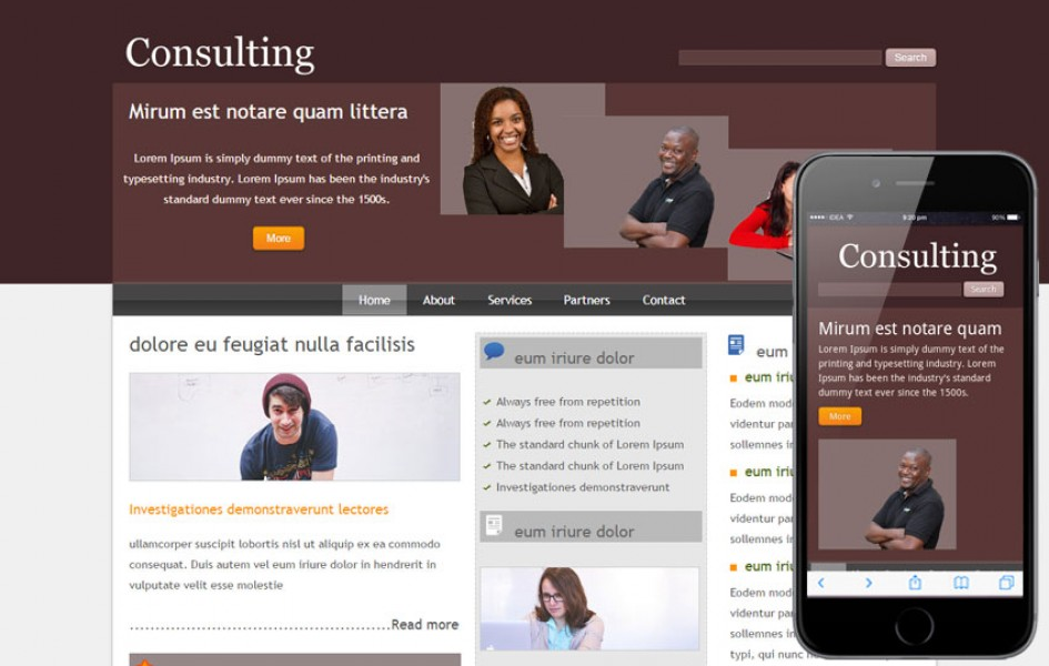 Free Consulting Web and Mobile Template for Corporate Businesses