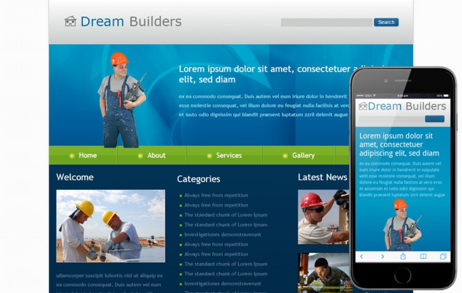 Free Dream Builders Web and Mobile Template for Construction Companies