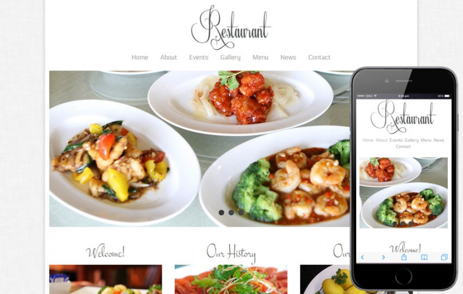 Free Floral Restaurant Web and Mobile Template For Hotels