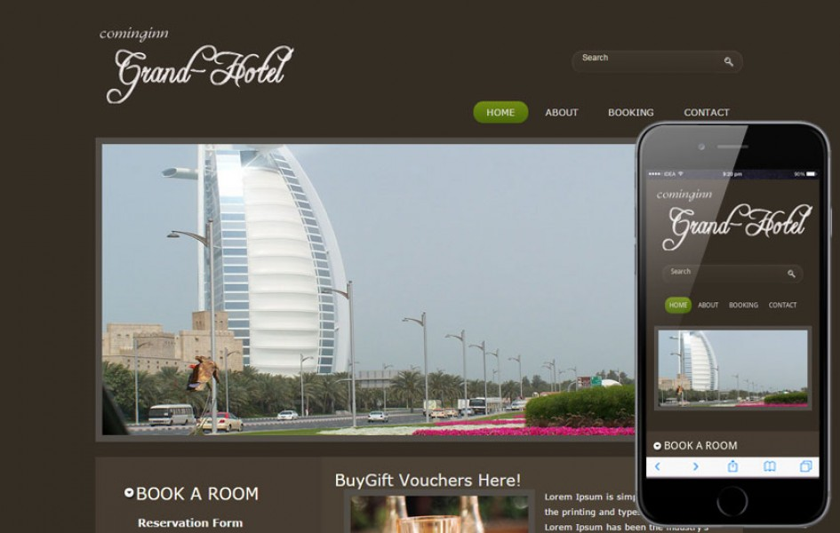 Free Grand Hotel Web and Mobile Template for Hotels and Restaurant
