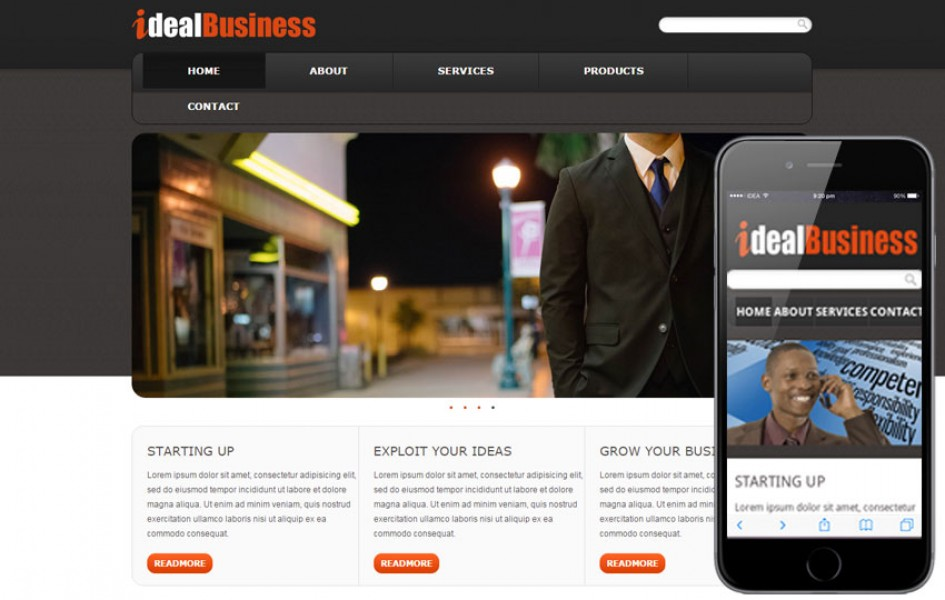 Free Ideal Business Web Template and Mobile Template for Corporate Companies