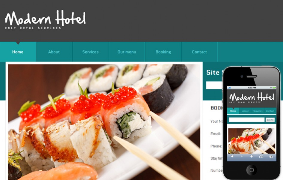 Free Modern Hotel Web and Mobile Template for Hotels and Restaurants