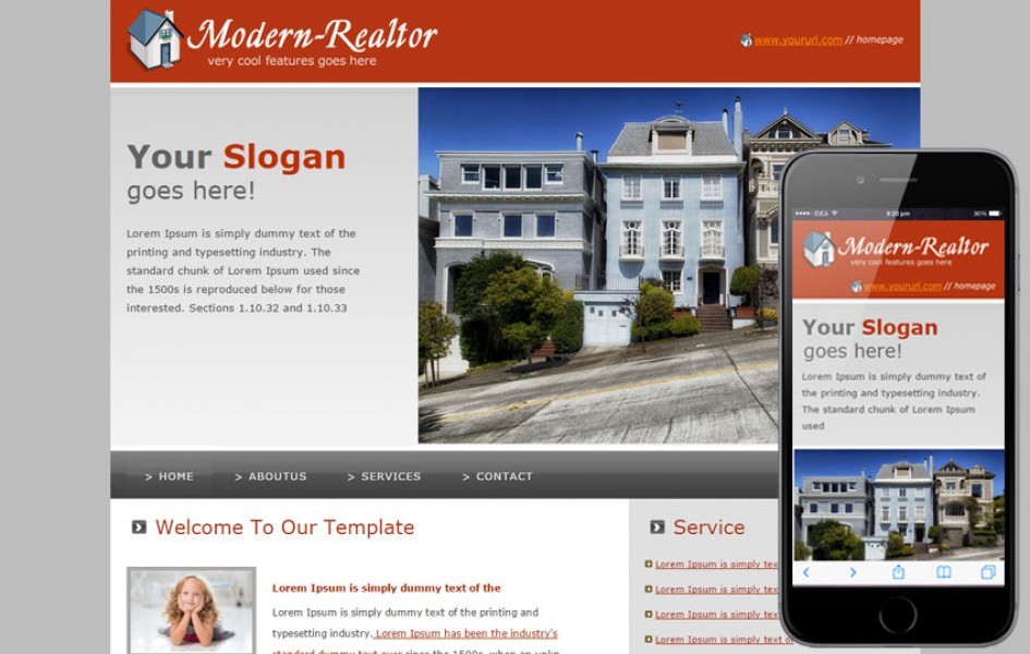 Free Modern Realtor Web and Mobile Template for Real Estates Agents