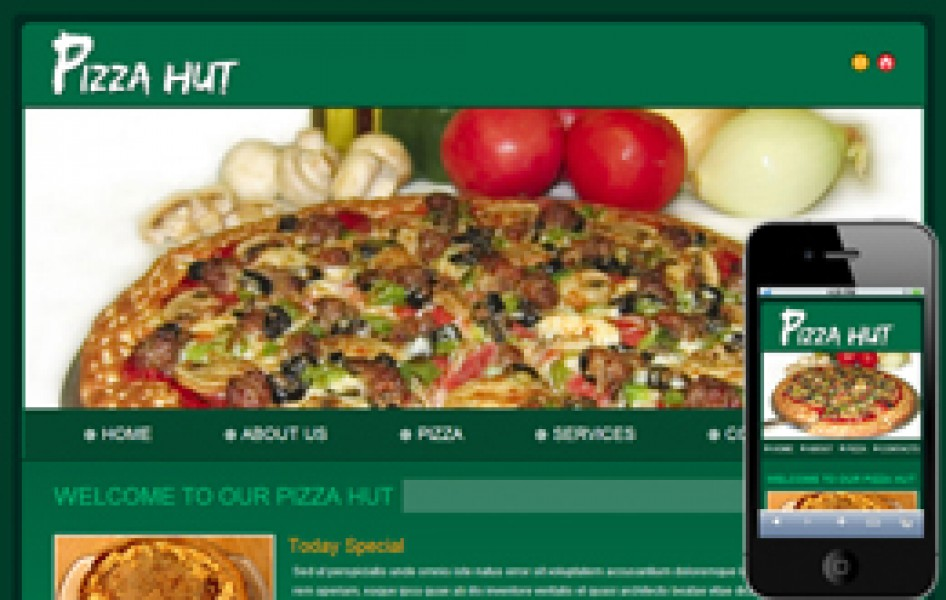 Free Pizza Hut Web and Mobile Template for Food Corners