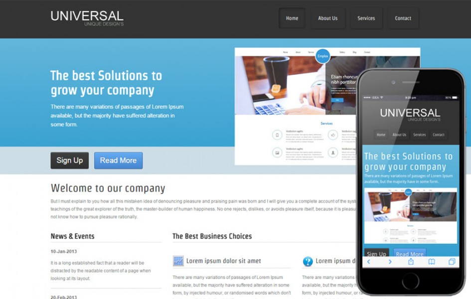 Free Universal Web and Mobile Template for Corporate Companies