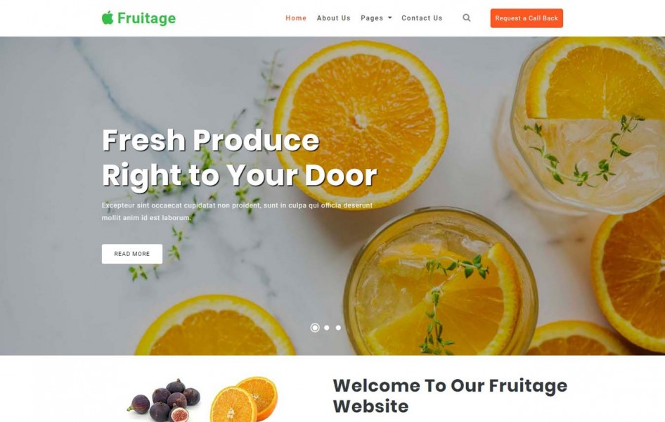 Fruitage Agriculture Category Bootstrap Responsive Web Template