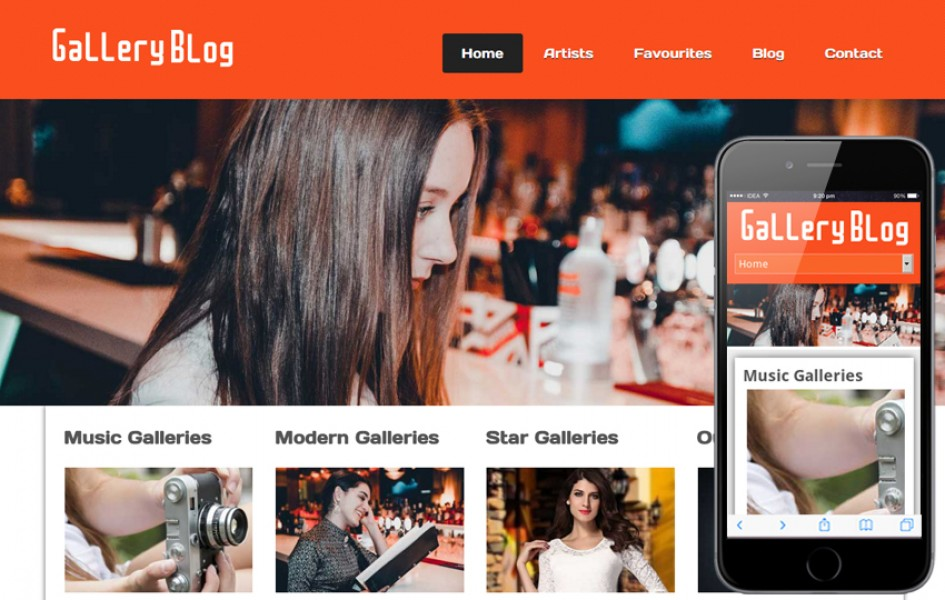 Gallery Blog Web and Mobile Template for Free
