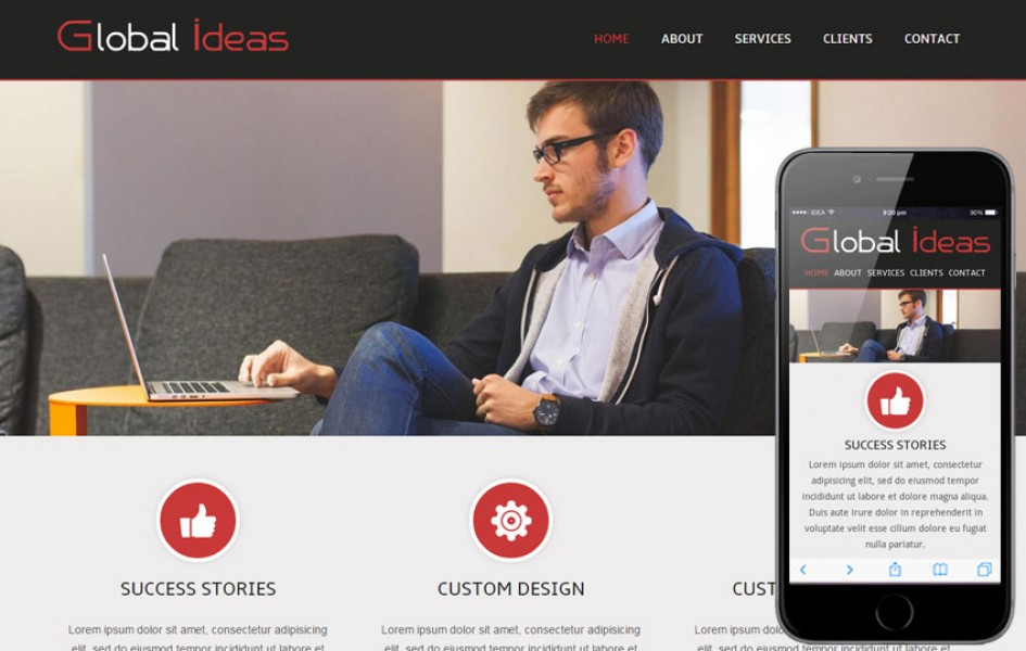 Global Ideas Corporate Mobile website Template