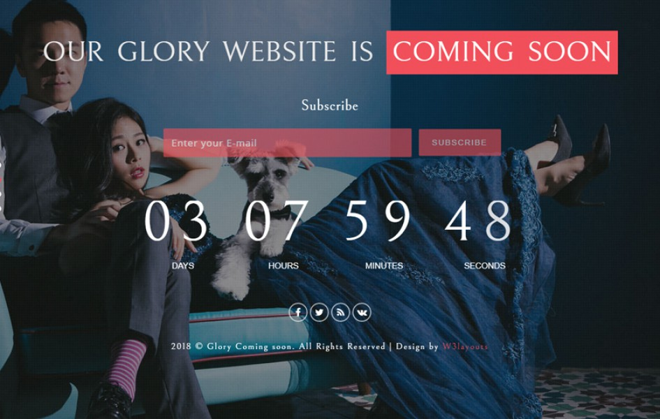 Glory Coming Soon Flat Responsive Widget Template