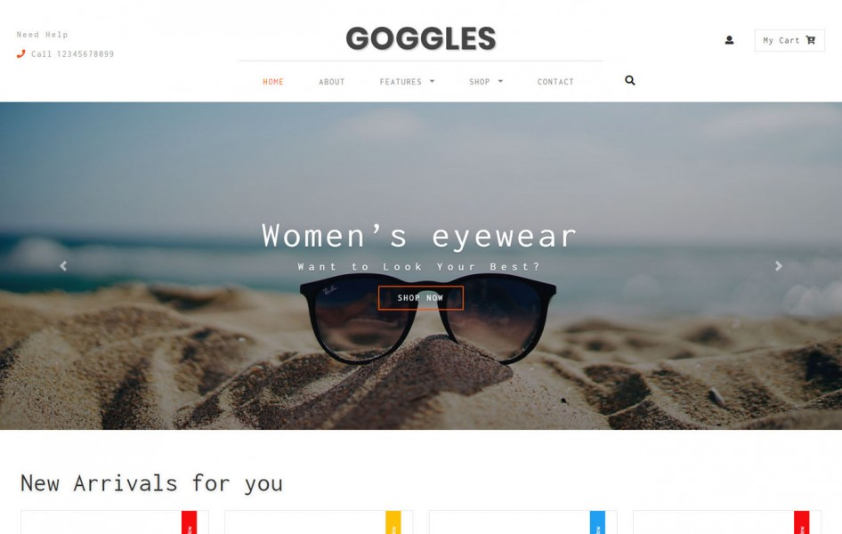 Goggles Ecommerce Category Bootstrap Responsive Web Template