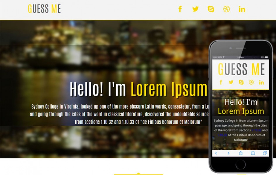 Guess Me Personal Portfolio Mobile Website Template