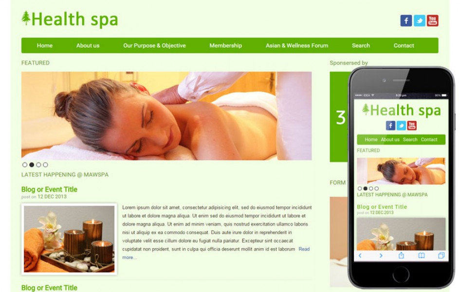 Health Spa Beauty Parlour Mobile Website Template