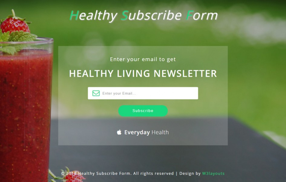 Healthy Subscribe Form Responsive Widget Template