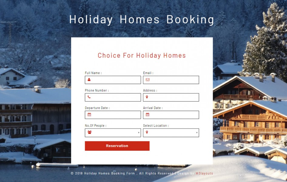 Holiday Homes Booking Form Responsive Widget Template