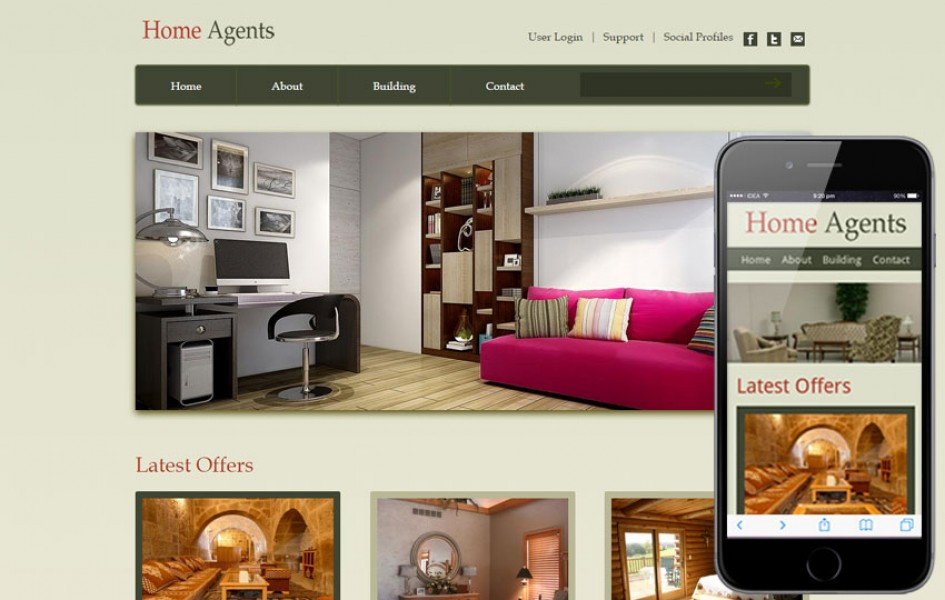 Home Agents Web and Mobile Template for Free