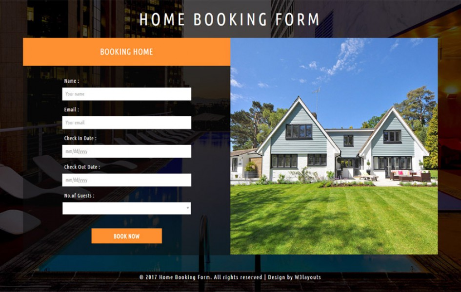 Home Booking Form Responsive Widget Template