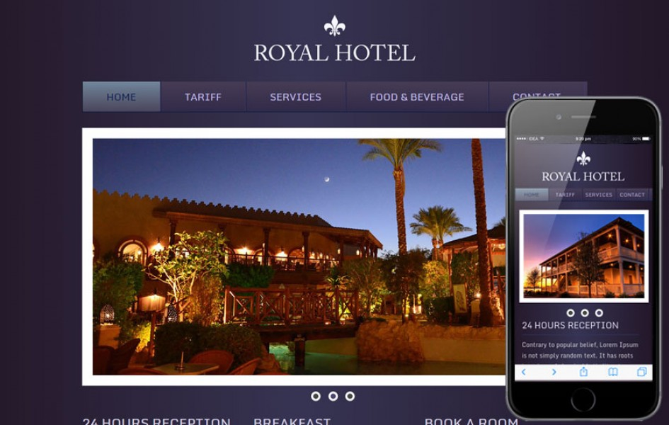 Hotel Royal Web and Mobile Template for free