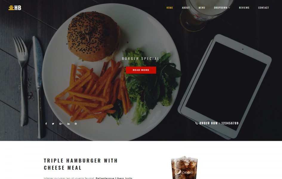 Humburger Restaurants Category Bootstrap Responsive Template