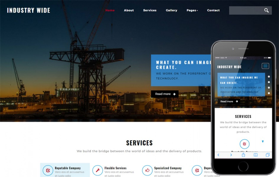 Industry Wide an Industrial Category Bootstrap Responsive Web Template