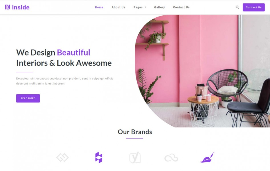 Inside Interior Category Bootstrap Responsive Website Template