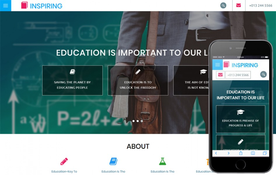 Inspiring an Education Category Bootstrap Responsive Web Template
