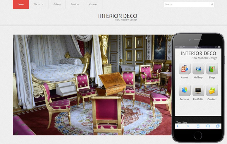Interior Deco Web and Mobile Template for Free