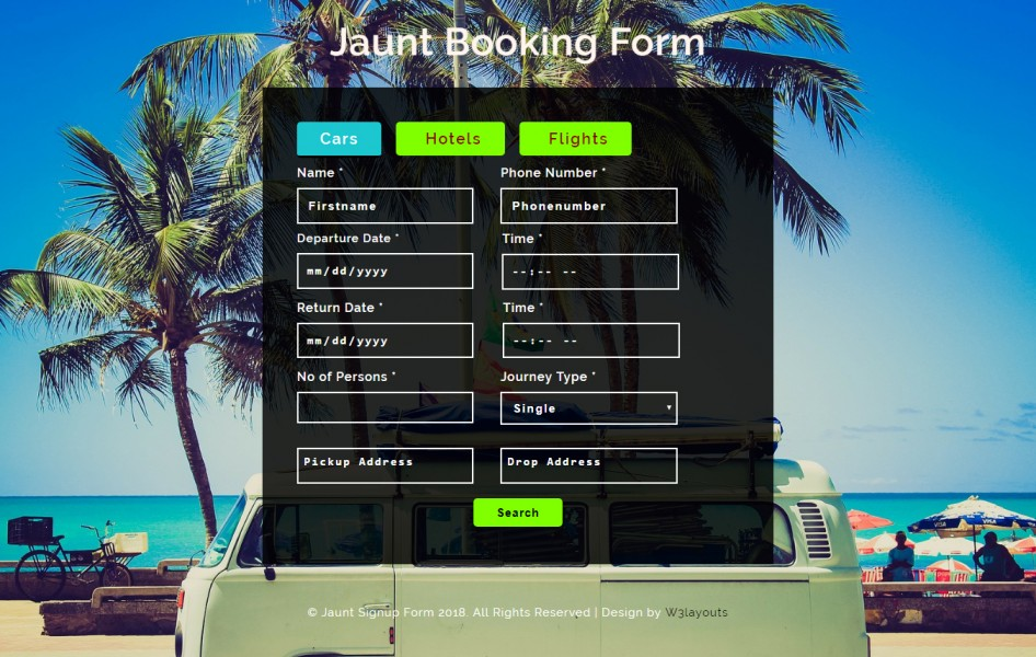 Jaunt Booking Form Responsive Widget Template