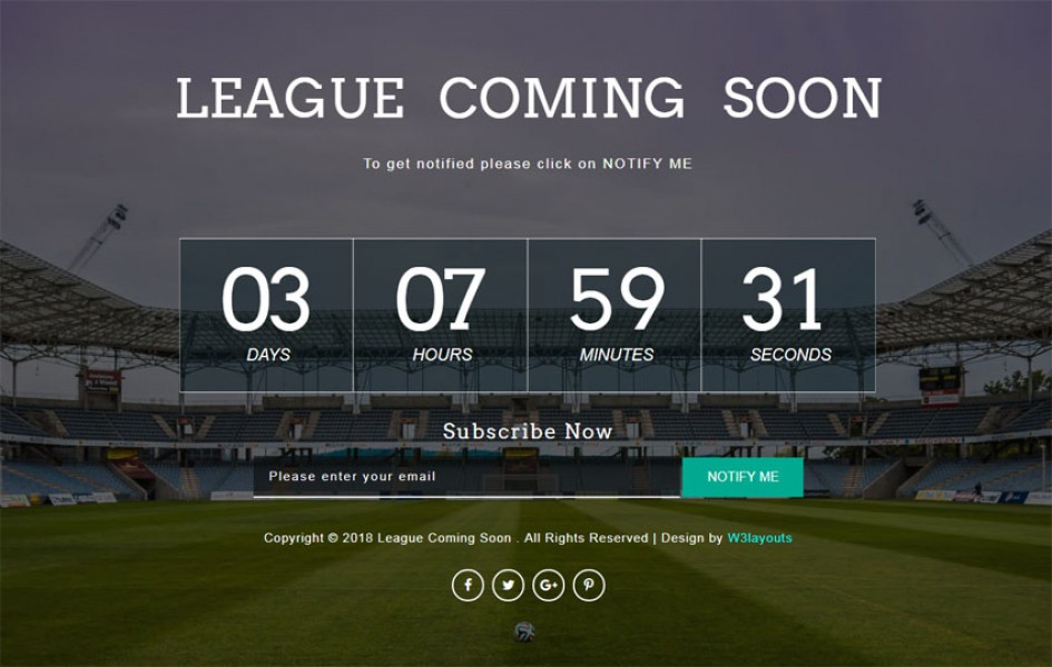League Coming Soon Responsive Widget Template