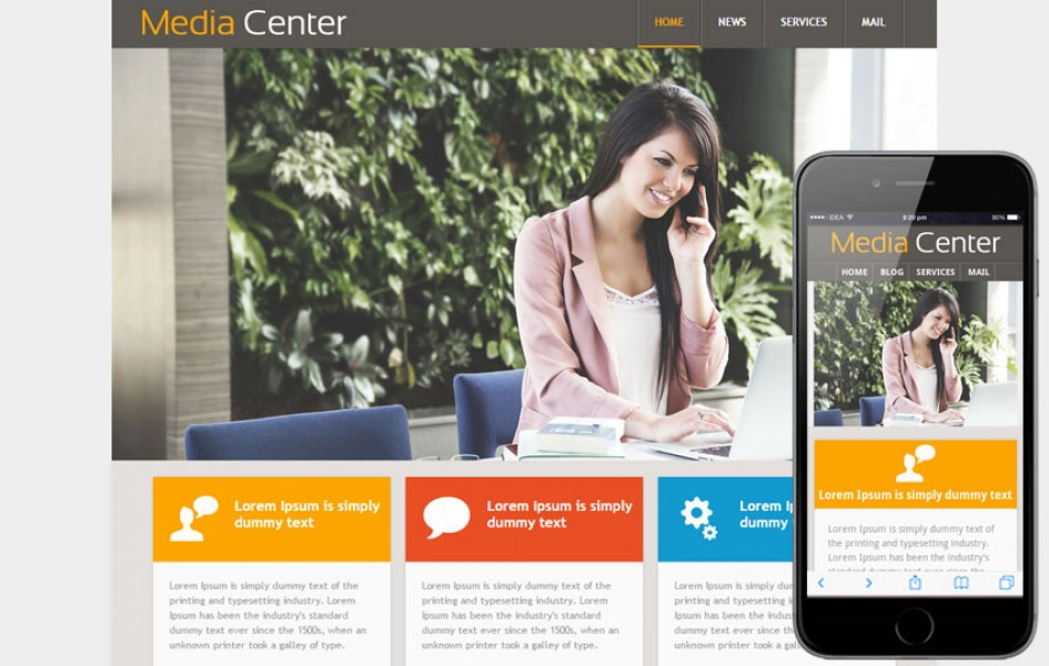 Media Center web Template and Mobile Web Template for Entertainment Category