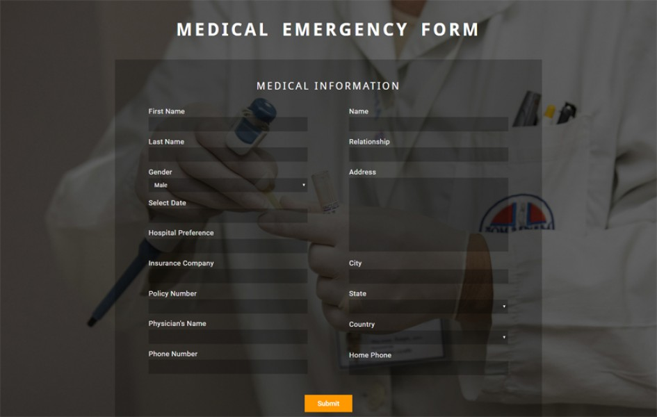 Medical Emergency Form Flat Responsive Widget Template