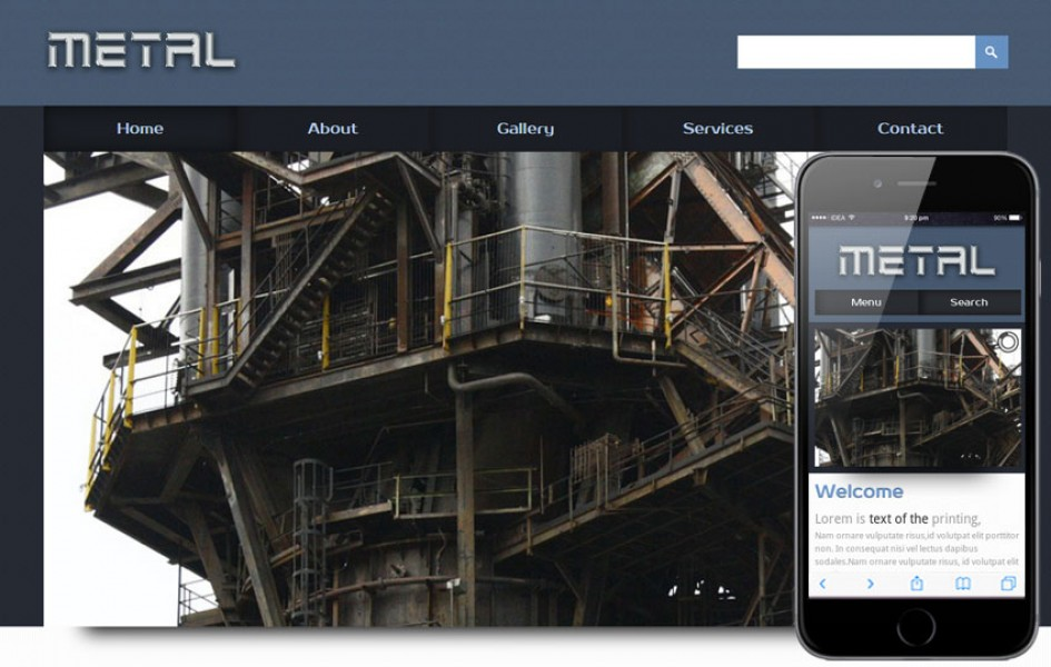 Metal a Industrial Mobile Website Template