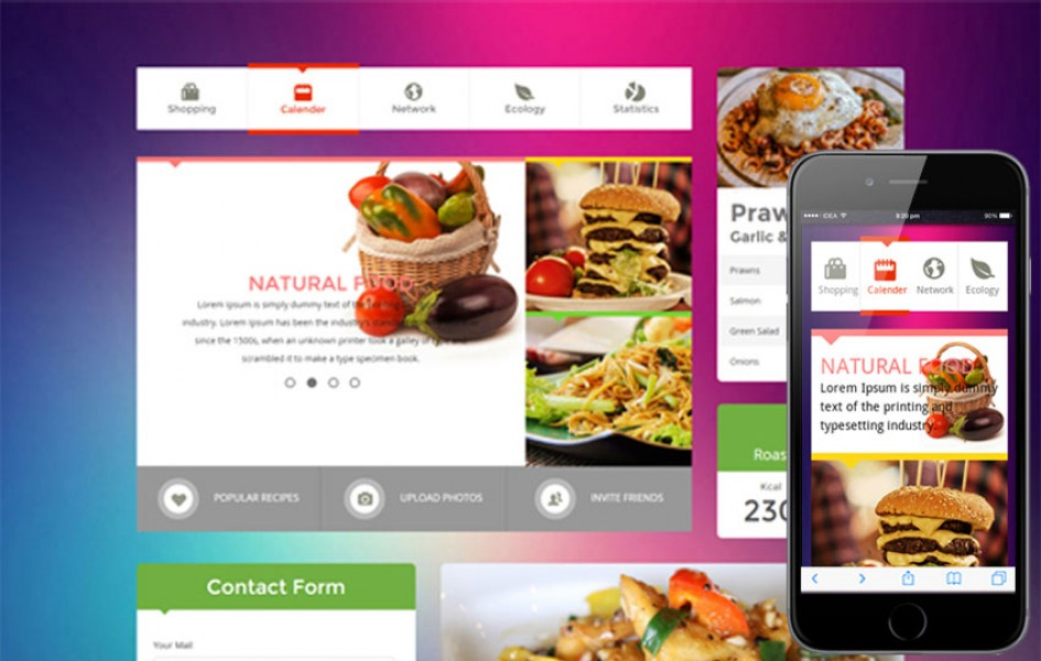 Metro Food UI KIT Flat Responsive Web Template