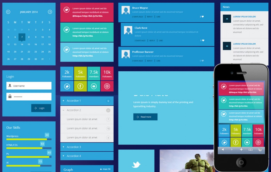 Metro Tiles UI Kit Responsive Web Template