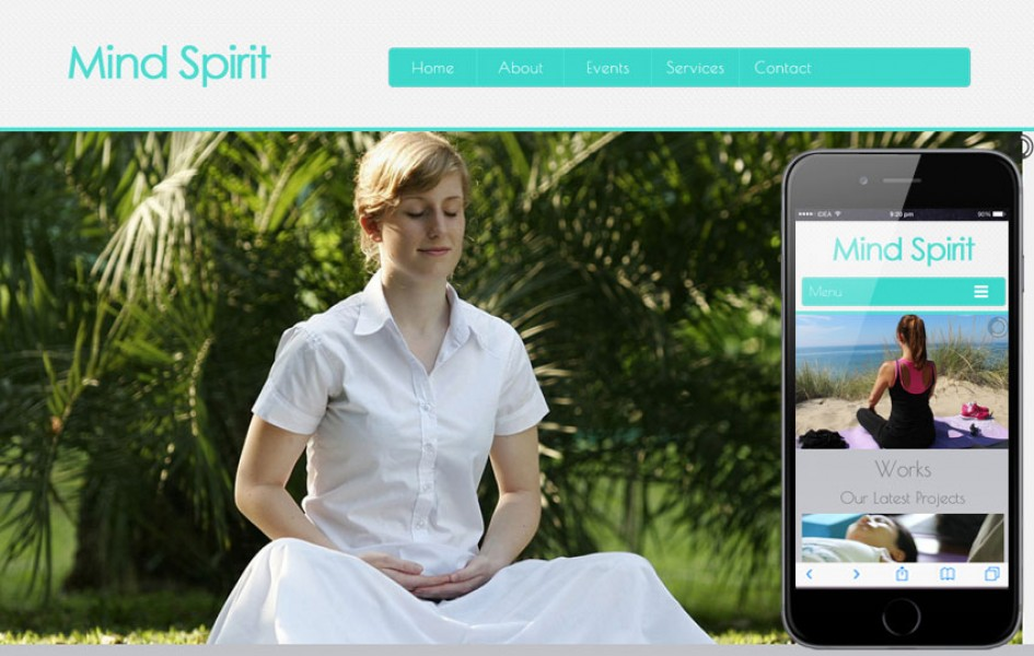 Mind Spirit a Health and Fitness Mobile Website Template