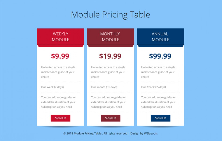 Module Pricing Table Flat Responsive Widget Template