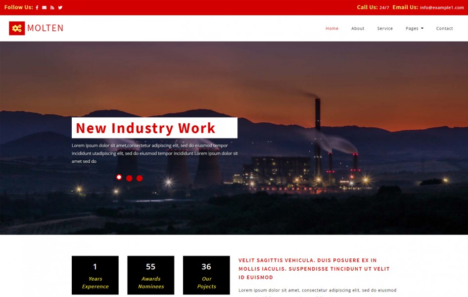 Molten Industrial Category Bootstrap Responsive Web Template