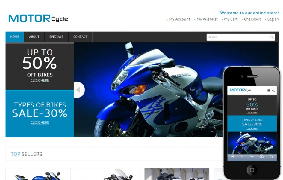Motor Cycle Automobile Mobile Website Template