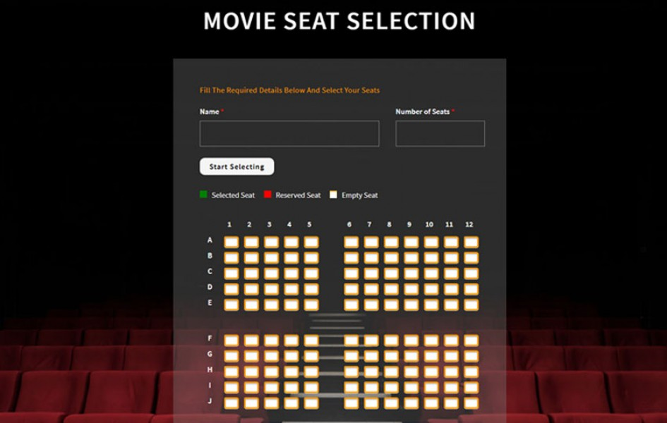 Movie Seat Selection Flat Responsive Widget Template