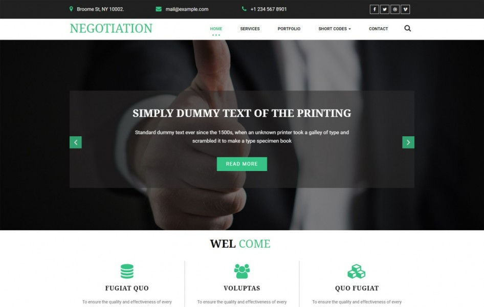 Negotiation a Corporate Category Bootstrap Responsive Web Template