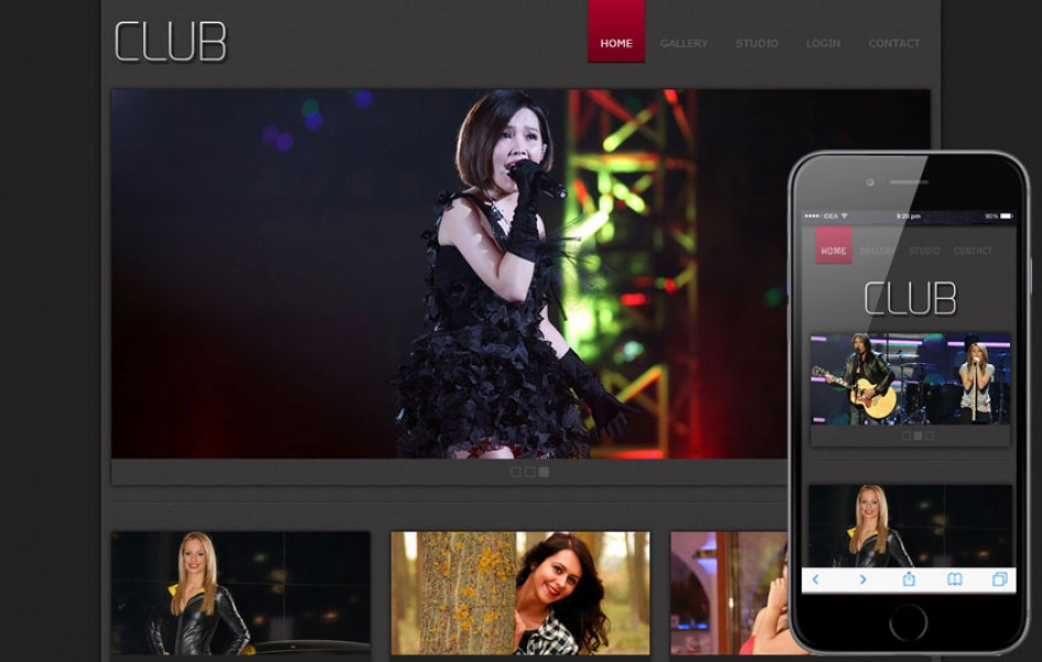 New Club gallery web template for photographers and professionals